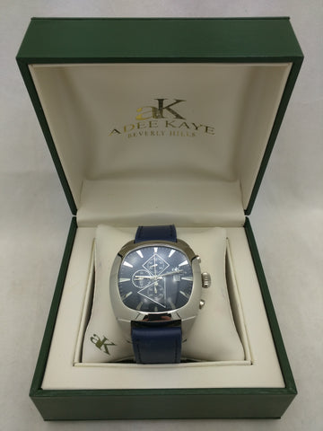 Navy Blue Adee Kaye Mens Miyota Chronograph Date Quartz Watch Silver tone