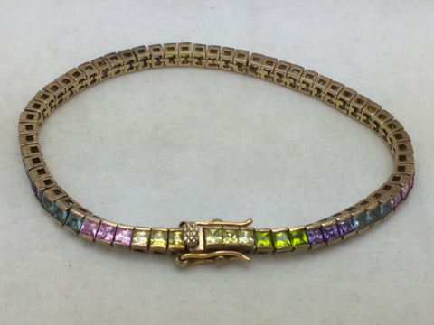 "Gold Over Sterling Silver Multi-Color Tennis Bracelet 7.5"" FAS"
