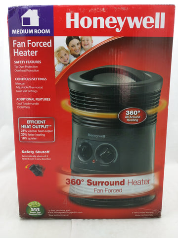 New 1500W Honeywell Manual 360 Degree Surround Heater Black Fan Forced HHF360VWM