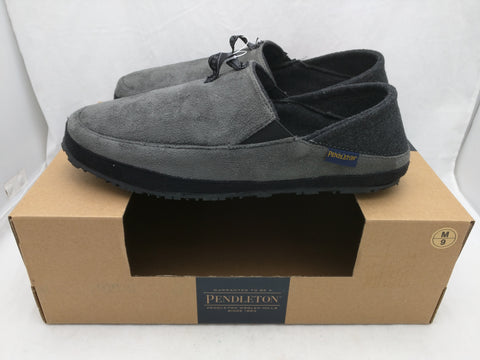 New 9 Pendleton Driveway Drop House Slippers Suede Wool Blend Gray Men