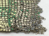 Mesh Enamel Coin Purse Flapper Chainmail Yellow Green Art Deco VTG