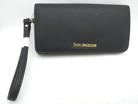 New Enzo Angiolini Black Womens Wallet Coin CC Zipper Clutch
