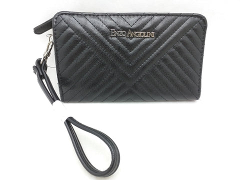 New Enzo Angiolini Womens Black Zip Wallet Coin Zipper