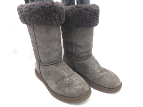 9 Women UGG Paisley Shearling Classic Tall 5852 Leather Brown Boots