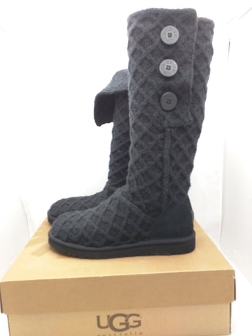 New 11 Women UGG Knit Tall Boots Lattice Cardy 3066 MSRP $150 Lamb Fur Black