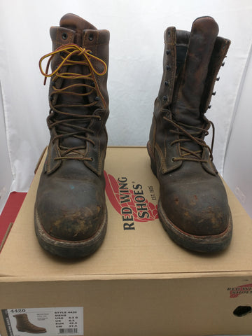 9.5 Safety Toe Red Wing Boots Work Logger Men Lace 4420 Box