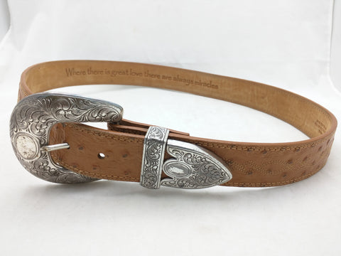 36 Ariat Belt Ostrich Print Leather Western Silver Tone Tip Buckle