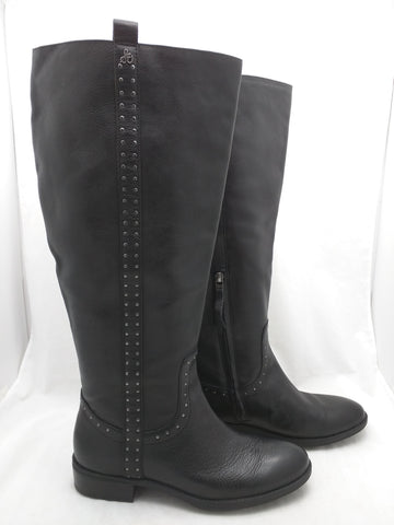 7.5 Sam Edelman Prina Leather Tall Knee High Riding Boot Black Studded