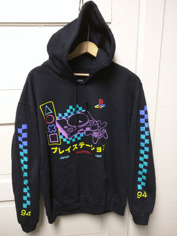 NEW M 1994 PS1 Hoodie Playstation One Console Sweatshirt Black Mens Medium