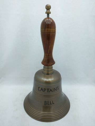 "14"" Captain's Bell Nautical Maritime Engraved Wood Metal AS-IS"