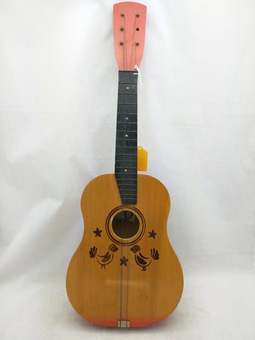 AS-IS 2 Birds Ukulele Mini Acoustic 6 String Guitar Pyrography Wood Burning Lyre Logo Uke