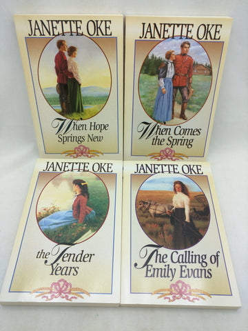 4 Janette Oke Book When Hope Spring Canadian Tender Years Prarie Emily Evans