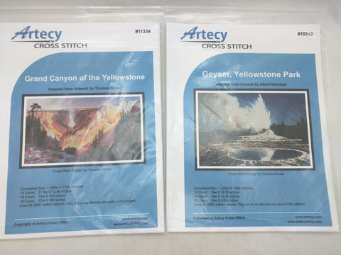 2 Yellowstone Artecy Cross Stitch Pattern Geyser Grand Canyon National Park 10310 11334