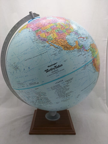 "12"" Blue Replogle Table Globe World Nation Metal Axis Wood Base"