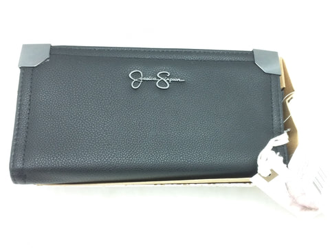 New Frankie Wallet Jessica Simpson Black Logo Wallet Zip Around Snap $45 MSRP