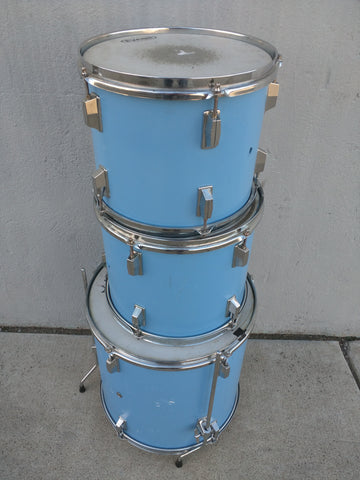 3 Blue Drum Set AS-IS Painted Wood Wooden CB Remo