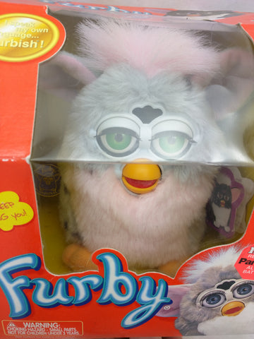 Grey Pink Mane Box Furby 2001 VTG VGC 2 Manuals 57037 Tiger Electronics Green Eyes