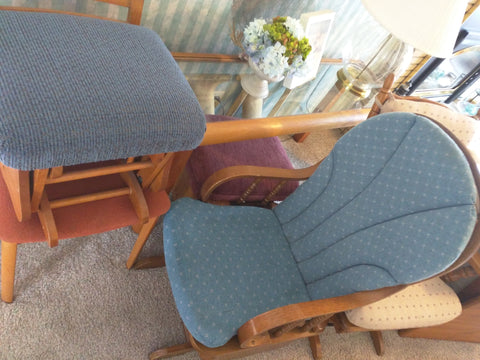 Blue Padded Chair & Foot Stool Gliding  Pickup Only