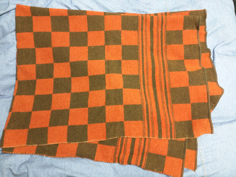 Baron Plaid Blanket Brigham UT Wool Woolen Mill VTG Red Black Checker Hunter Throw