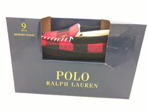 NEW 9 Slipper Plaid RALPH LAUREN POLO Men Red Black Hunter Check Suede Trim Cali House