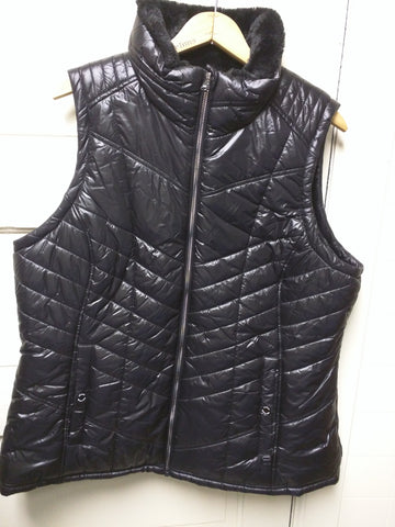 NEW M Women's Michael Kors Black Puffer Vest With Faux Fur Lined $125