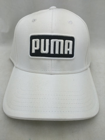 NEW Puma White Raised Logo Hat Cap $24 MSRP Greenskeeper II buckle adjust Golf Dry Cell