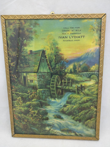 Lydiatt 8x6 Pocatello Idaho Milk Advertisment Framed Old Mill Stream Print Ad VTG