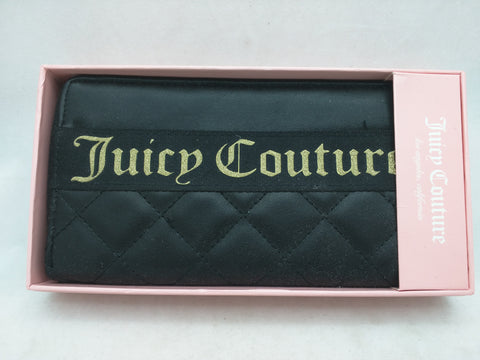 NEW Black Juicy Couture Zip Wallet Starburst Clutch Fold CC Zipper