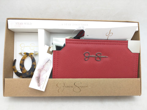 NEW RED Jessica Simpson Zip Wallet Clutch Fold CC Earring Set $52 MSRP Stay Wild Carnelian