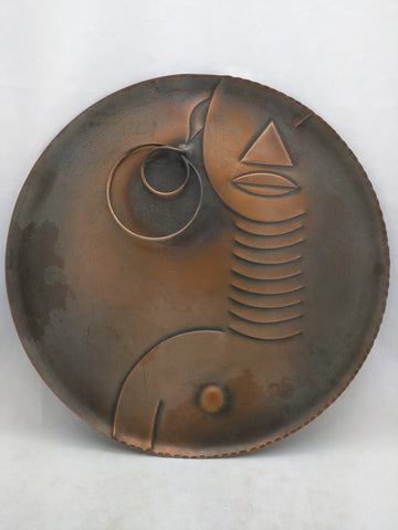 "14"" REBAJES AFRICAN WOMAN COPPER TRAY MID CENTURY MODERNIST WALL PLAQUE VTG RARE Art"