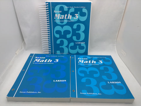 SAXON Math 3 Set Teacher's Book Student Workbooks Part 1 & 2 Home School