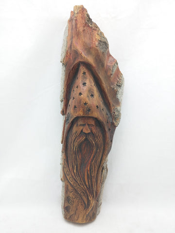 "12"" Wood Spirit Hand Wall Art Druid Old Man Tree Face Wizard Carving Branch Signed"