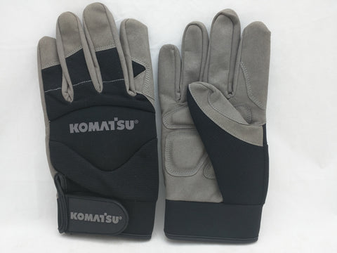 NEW XL Komatsu Work Gloves Grey Black NWOT