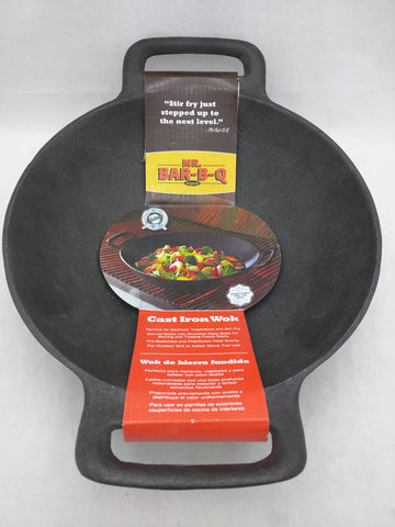 NEW Cast Iron Wok Mr Bar-B-Q Barbaque Pan Pot Handles