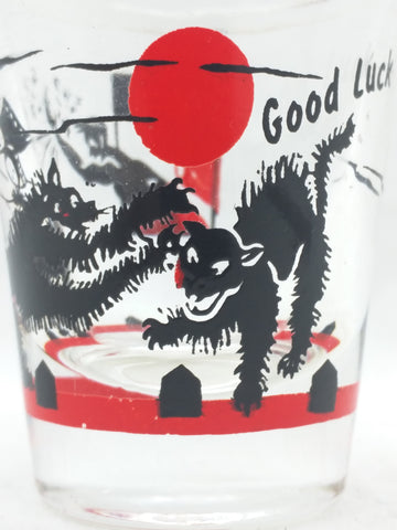 Shot Glass Black Cat Good Luck Halloween Vintage