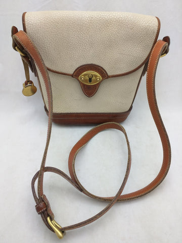 Cream Tan All Weather Leather Dooney Bourke USA Vintage Purse Handbag Bag Binoculars Women