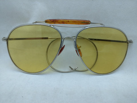 Yellow Tint Lens Ear Hook Avaitor Sunglasses Vintage Pilot Style