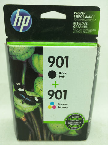 901 Black Tri-Color Jul 2016 EXPIRED HP Ink Injet Printer Cartridge NOS Genuine