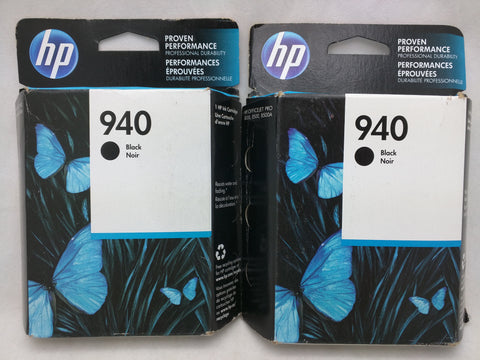 2 Black 940 EXPIRED 2017 2016 HP Ink Injet Printer Cartridge NOS Genuine