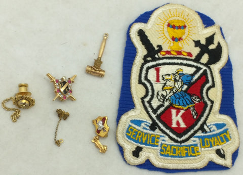 10K Gold Gavel Ionian Knight Patch Fraternal Seed Pin LGB Iona Idaho ? Service Sacrifice Loyalty Blue