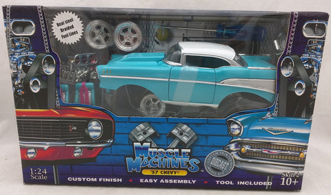 1:24 1957 Chevy Blue MUSCLE MACHINES BUILD IT White '57 NEW 71124 Chevrolet Die Cast Kit