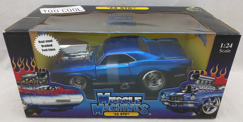 1:24 1966 Pontiac GTO Blue MUSCLE MACHINES '66 NEW 71125 Die Cast
