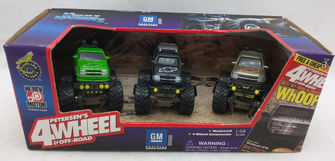 1/64 GM MUSCLE MACHINES MOTORIZED PETERSEN'S 4 WHEEL OFF ROAD TRUCK Silverado TrailBlazer