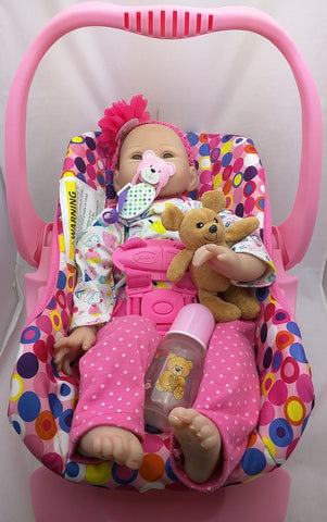 Pink Joovy NPK Doll Car Seat Reborn Baby Soft Silicone Doll Baby Cotton Body LifeLike
