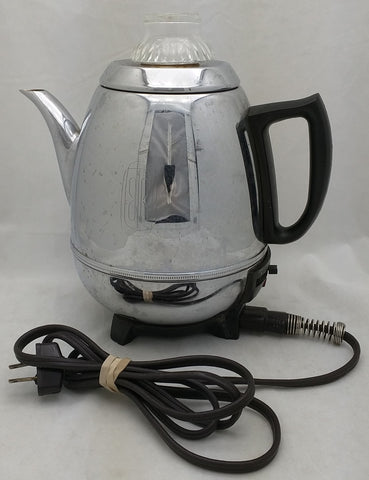 AS-IS GE Pot Belly Art Deco 9 Cup Electric Percolator 18P40 General Electric