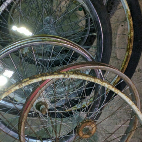 10 Old Bicycle Rims Vintage Rough Art?