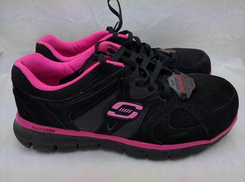 Alloy Toe Skechers Flexsole Synergy Sandlot Work Shoe 76553 Black/Pink Women 9.5