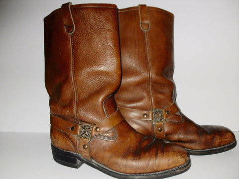 US 10.5 W HY-TEST USAS 76 LEATHER HARNESS BIKER WORK BOOTS Steel Toe VTG HyTest Cognac