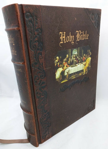 Family Record Edition World Holy Bible Last Supper Ribbed Spine Leather? KJV HC