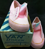 8.5 PINK 1984 LADY VANS DECK Vintage International Canvas Boat Shoes lace-up new